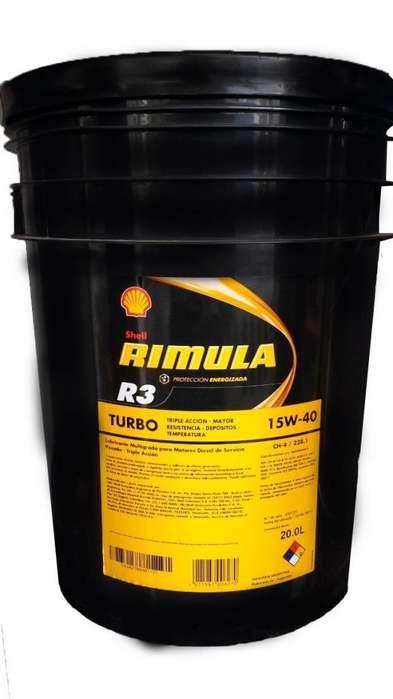 Aceite Motor Shell Rimula R3 Turbo 15w40 Mineral Balde 20 L