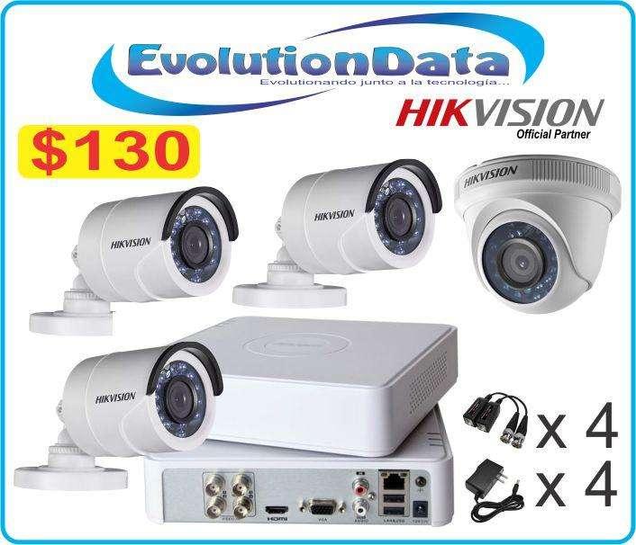 Hikvision Kit 4 Camaras Sistema Seguridad Dvr Cctv 3 Exteriores 1 Interior Video Baluns