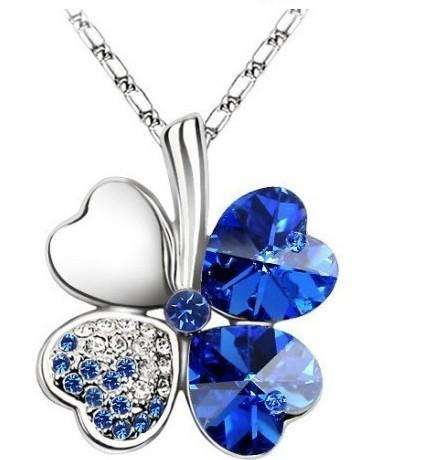 Marca KJJEAXCMY :Trébol Collar Azul Zafiro De 4 Hojas