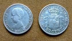 Moneda de 50 céntimos de peseta de plata, España 1892