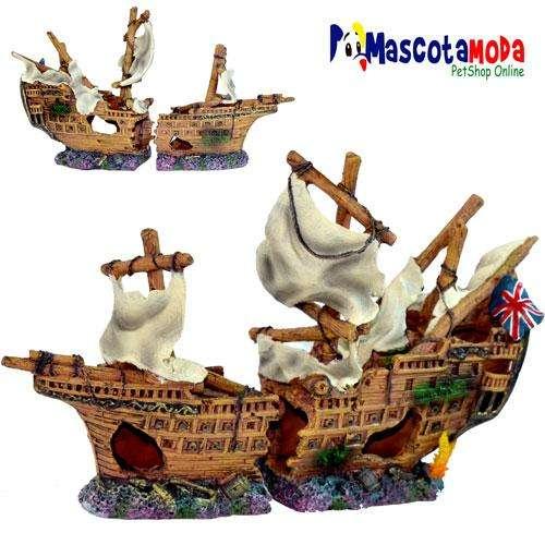 Barco hundido grande ingles con detalles decoración acuarios