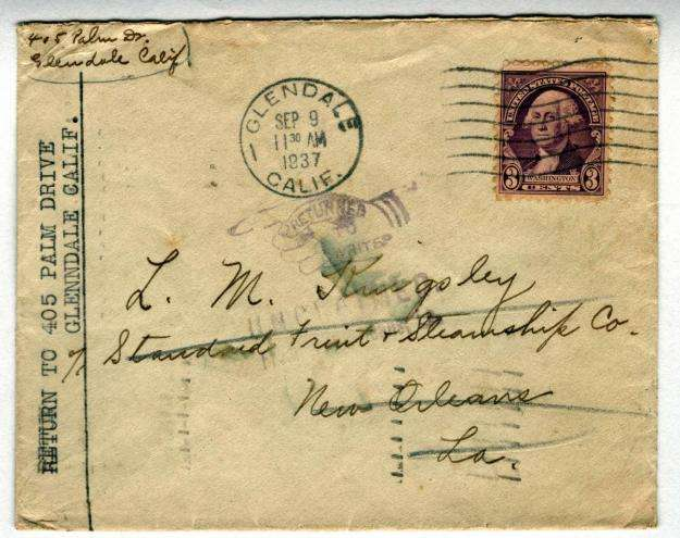 USA 1937 Returned to Writer Nice Cancel and Stamp