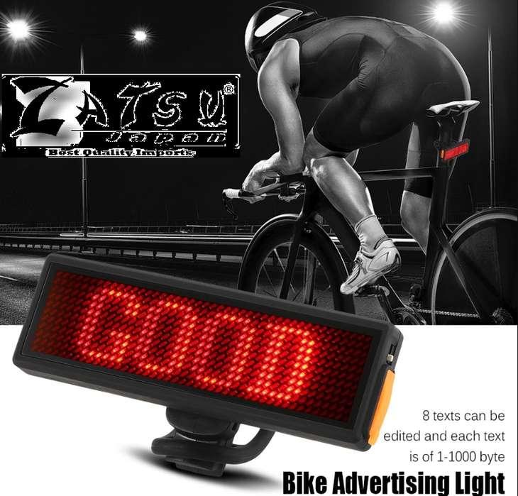 Zatsu Luz trasera Pantalla de texto Accesorios para bicicletas Importador. Por mayor y al detal