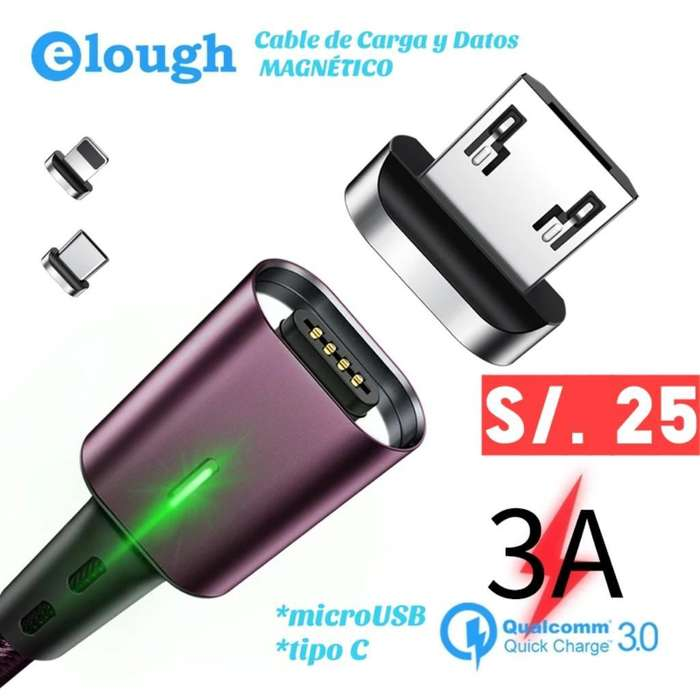 Cable Trenzado Magnético Microusb Y C