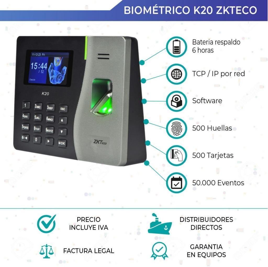 Reloj Biometrico Acceso Y Asistencia. Zkteco K20. Quito. Guayaquil. TCP IP. Respaldo de bateria
