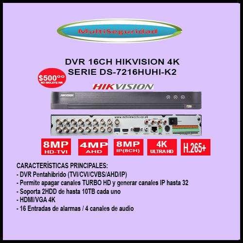DVR 16CH 16IP HIKVISION 4K DS7216HUHIK2 HASTA 8MP
