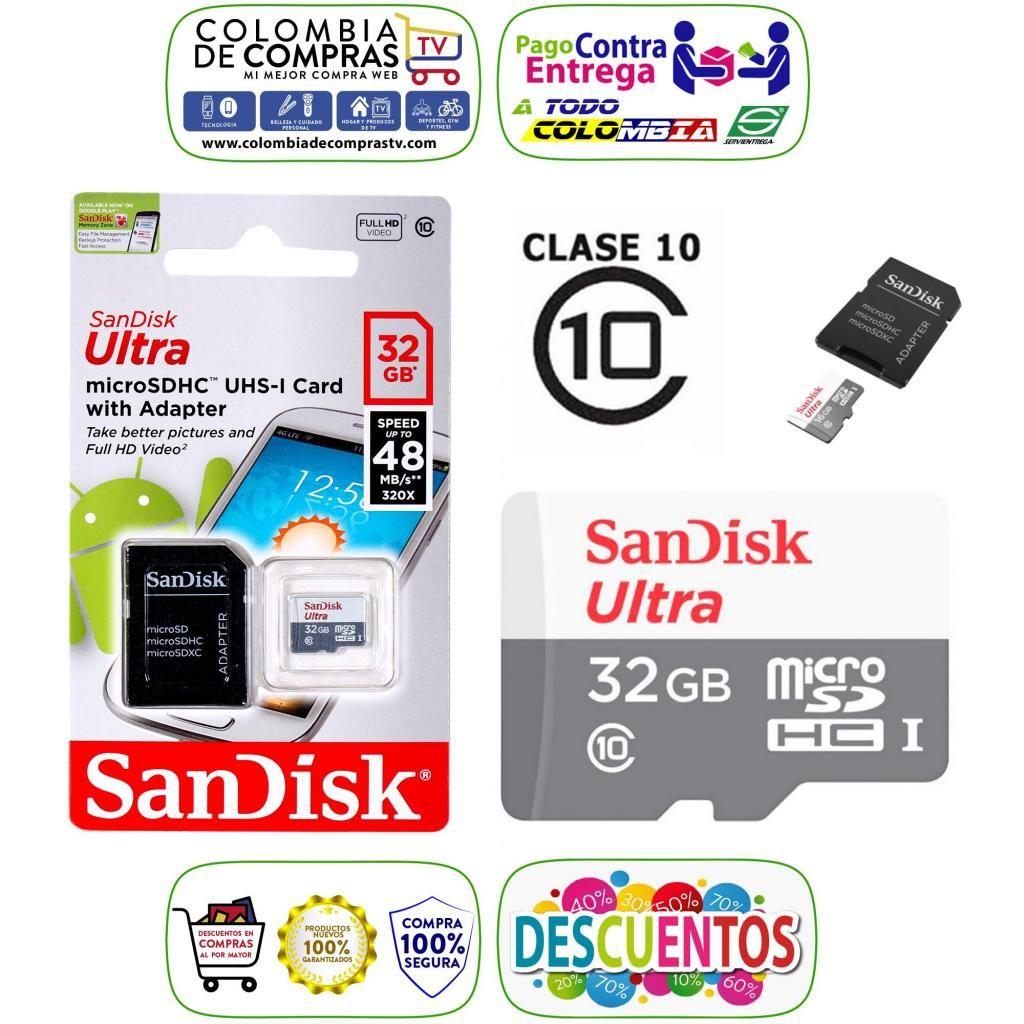 Memoria Micro SD CLASE 10 De 16 GB, 32 GB y 64 GB, ORIGINALES, SanDisk Ultra, Soporta 4K, Full HD, Nuevas