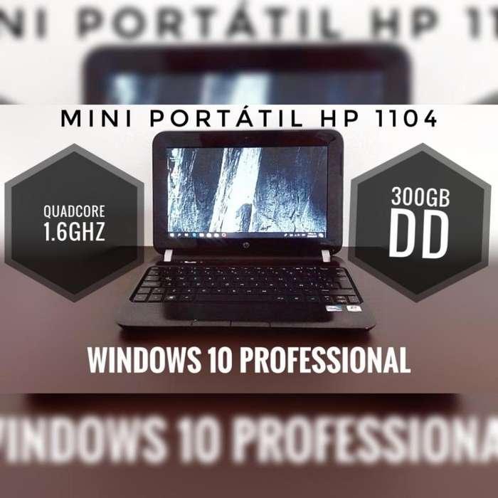 Mini portátil quadcore 300gb dd windows 10 y office 2019