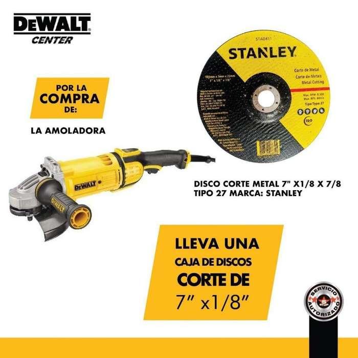 """Amoladora DEWALT DWE4557 lleva una caja de discos corte de 7"""" x1/8"""""""