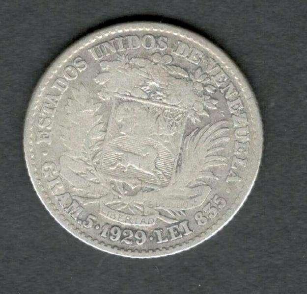 Venezuela 1929 FUERTE 5 Bolivares Silver Coin 25 Grams 90 Silver