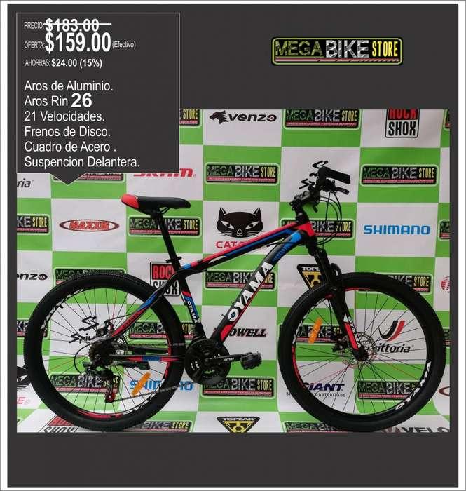 MODELO NUEVO <strong>bicicleta</strong> MONTAÑERA OYAMA ARO RIN 26 SUSPENSION DELANTERA , FRENOS DE DISCO , 21 CAMBIOS TODOTERRENO
