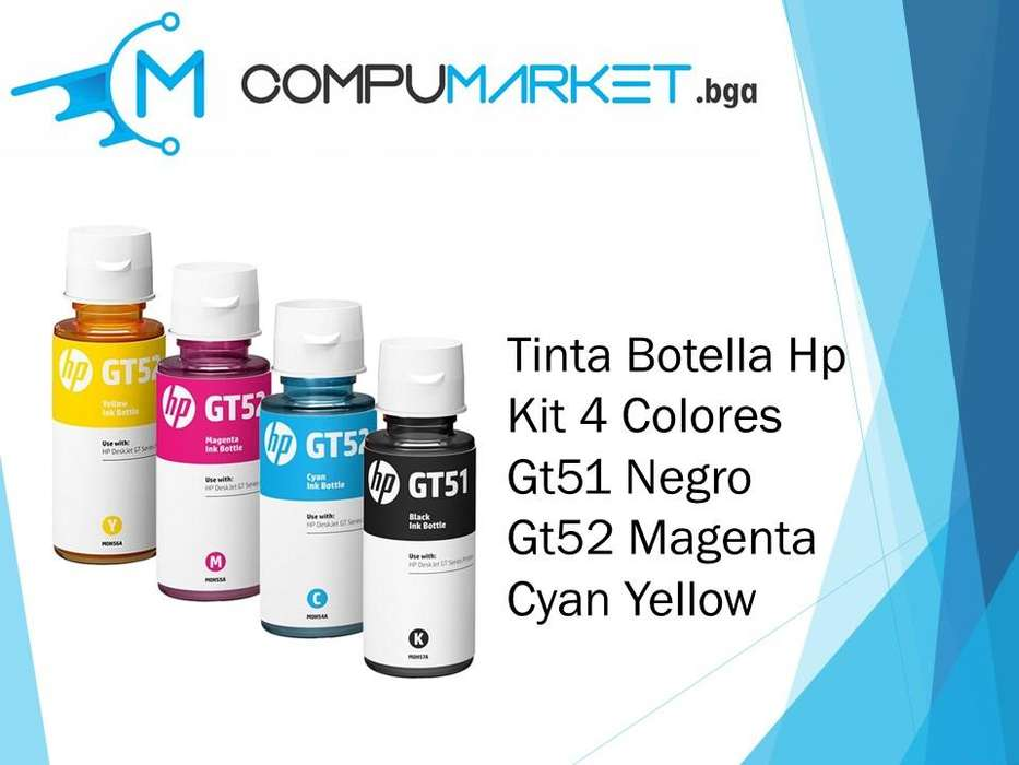 Tinta Botella Hp Kit 4 Colores Gt51 Negro Gt52 Magenta Cyan Yellow Nuevo y facturado