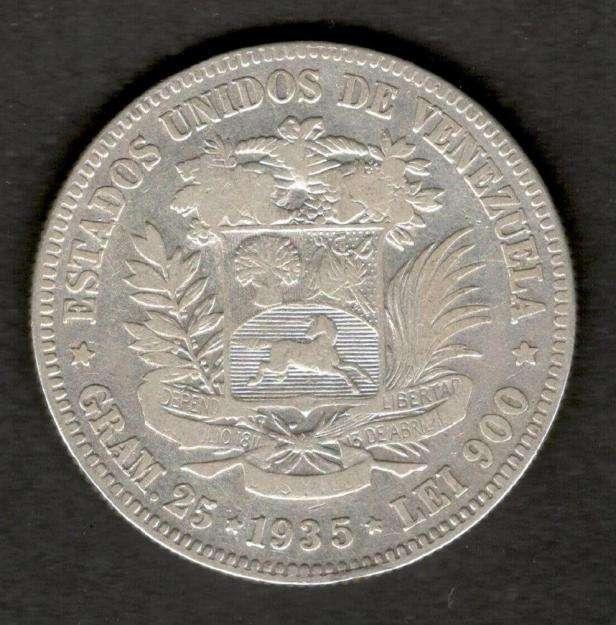 Venezuela 1935 FUERTE 5 Bolivares 90 Silver Coin 25 Gram