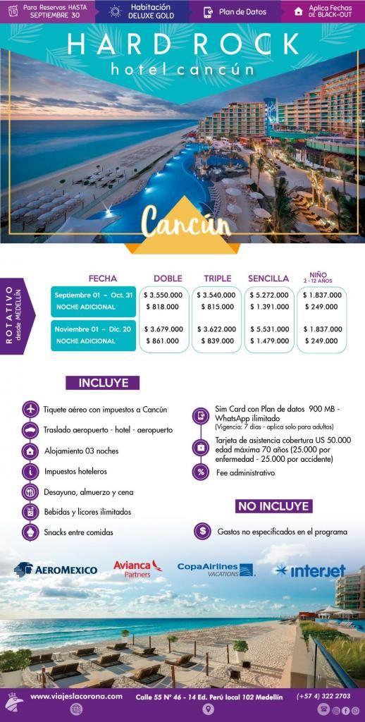Viaje como un Rey a Cancún  H. HARD ROCK  con Viajes la Corona