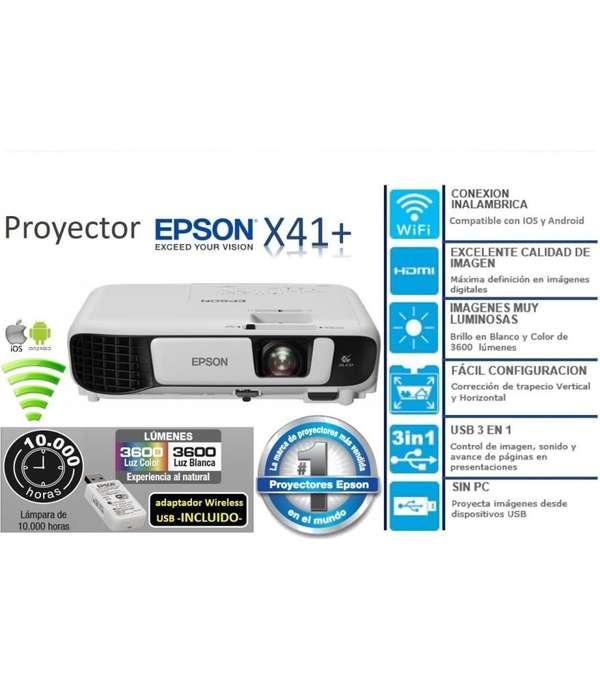 Proyector Epson PowerLite x41plus 3LCD - WIFI 1024 x 768, 3600 Lúmenes, Blanco