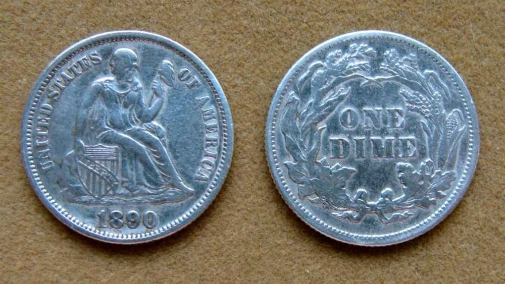 Moneda de 1 dime de plata Estados Unidos 1890