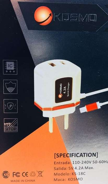 cargador 4.2a v8 carga rapida