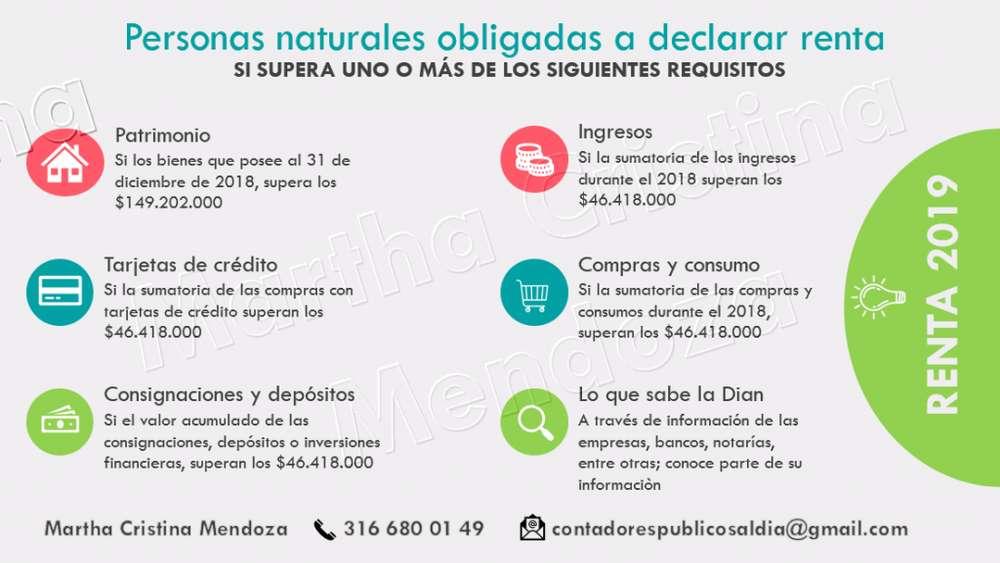 CONTADORES PUBLICOS - DECLARACIONES DE RENTA DESDE 150.000, CERTIFICACIONES DE INGRESOS, CONTABILIDADES