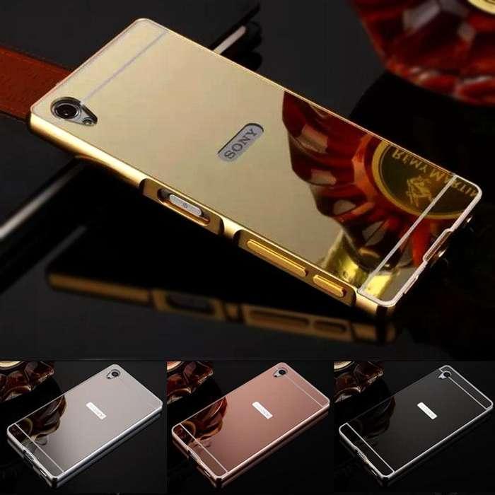 Carcasa Para Sony Xperia M4 Aqua Estuche Protector Espejo Dorada y Plateada