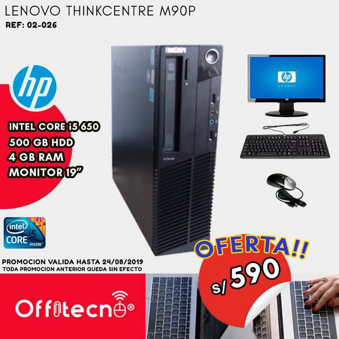 COMPUTADORA COMPLETA LENOVO THINKCENTRE M90P, INTEL CORE I5 650 , 4 GB RAM DDR3, 500 GB HDD