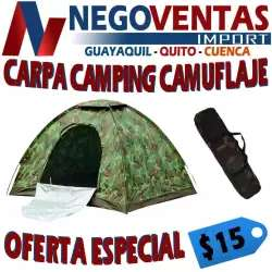 CARPA <strong>camping</strong> 2X2 MTS ESTRUCTURA ARMABLE COBERTOR IMPERMIABLE CAMUFLADO