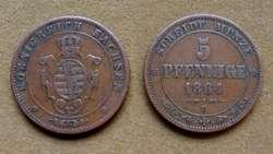 Moneda de 5 pfenninge, Sajonia, Alemania 1862