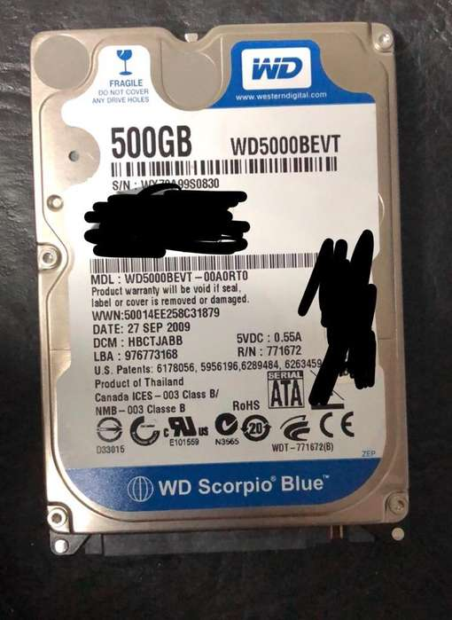 Disco Rigido 500 Gb Sata Notebook
