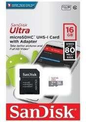 MEMORIA Micro Sd SANDISK 16 gb Clase 10 80 MBS Original rápida