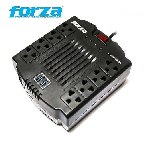 ESTABILIZADOR FORZA 1200VA FVR1202USB 600watts 8 tomas 220v
