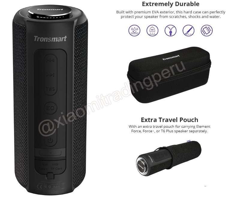 Tronsmart Element T6 plus Parlante Bluetooth Portatil con Estuche Rigido Y Funda de viaje extra