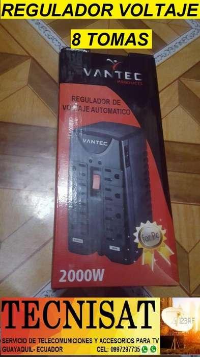 REGULADOR DE VOLTAJE AUTOMÁTICO 2000W DE 8 TOMAS IDEAL PARA PC SMARTV IMPRESORA ELECTRODOMESTICO ETC..