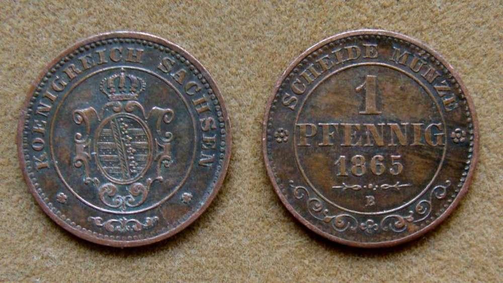Moneda de 1 pfenning, Sajonia, Alemania 1865