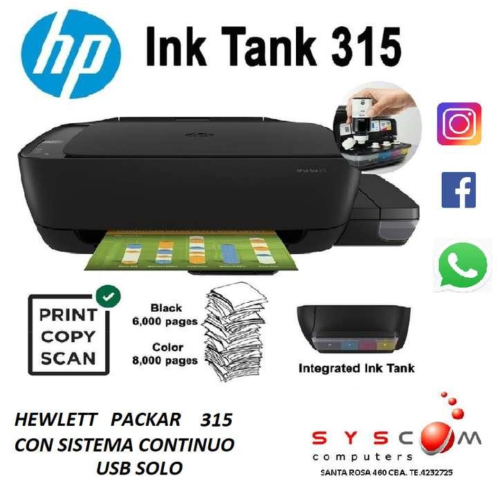 PROMO HP SISTEMA CONTINUO DE FABRICA INK TANK 315 USB