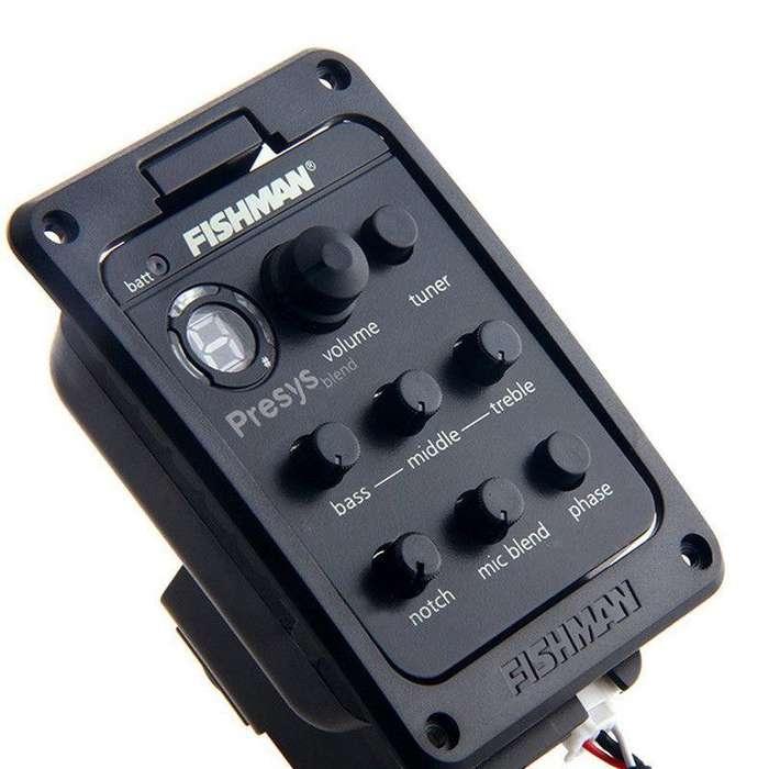 Micrófono FISHMAN PRESYS BLEND para Guitarra Acústica/Criolla. Preamplificador, afinador, micrófono piezo-elétrico.