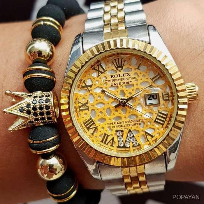 w) Rolex doble color 90 damas