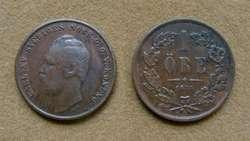 Moneda de 1 öre Suecia 1864