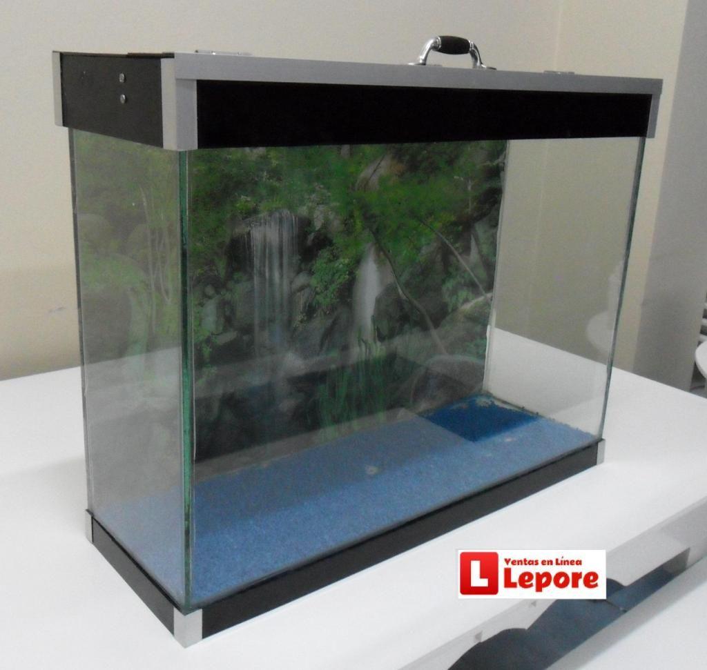 Acuario Pecera Personalizada 48 litros con Lampara LEDS Tapa/Base Acrilico DELIVERY