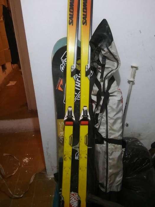 ski salomon con juego de palos
