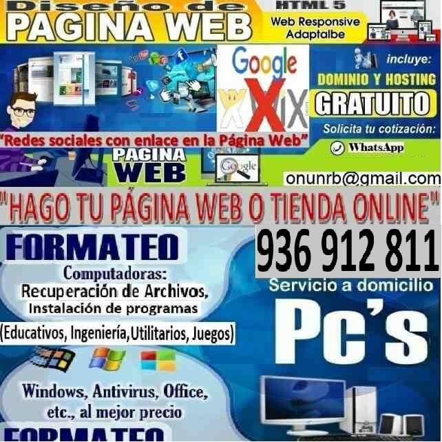 DOMICILIO FORMATEO DE PC, HAGO WEB PAGINA DOMINIO GRATUITO