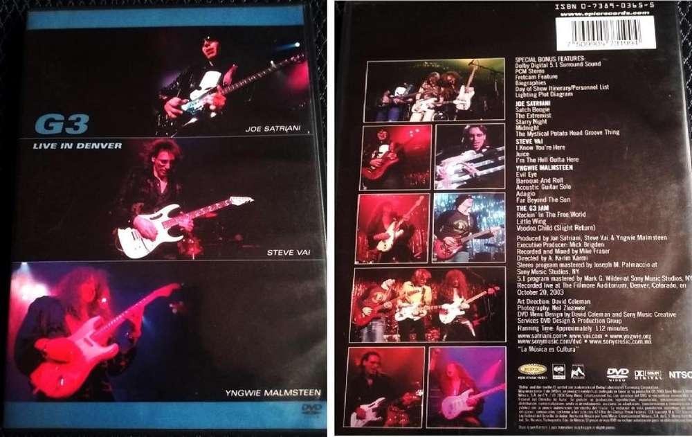 G3 Live in Denver DVD grabado en vivo Joe Satriani Steve Vai Yngwie Malmsteen 2003 En perfecto estado.