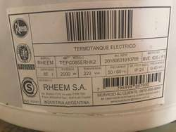 Vdo. Termotanque electrico Rheem 85 Lts. Impecable 5 meses de uso
