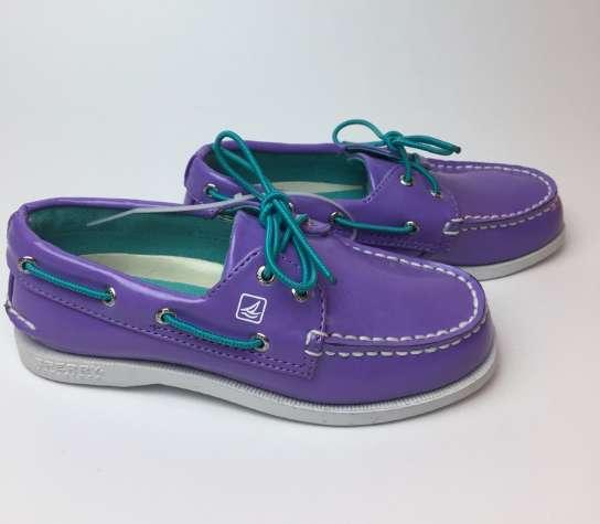 Zapatos Americanos Sperry Lila Con Cordones Azul Turquesa