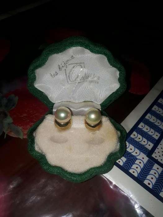 Aretes Italianos de Oro con Perlas