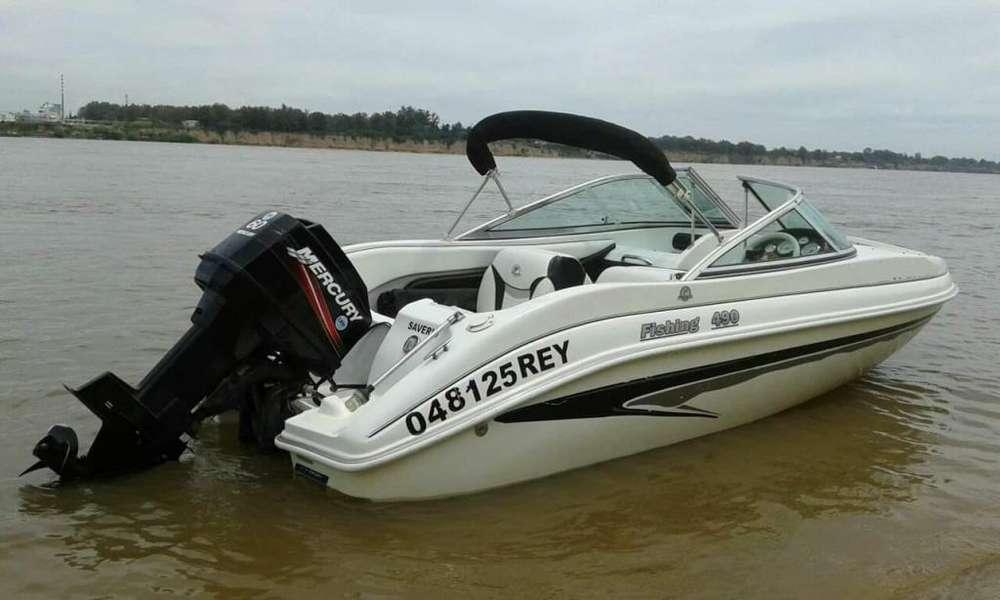 lancha ROSARIO fishing arco iris 490 mercury 60 hp con toldilla toneau power relojeria2010
