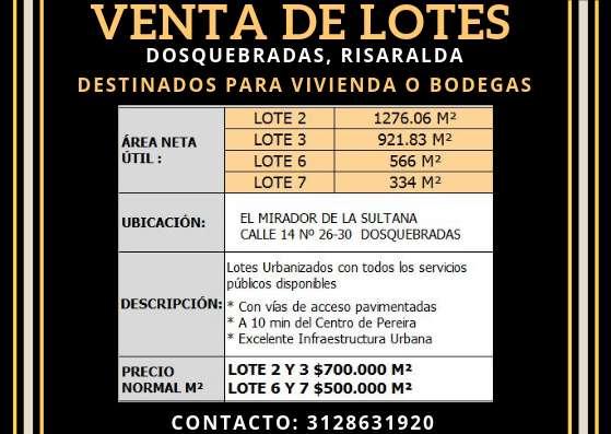 VENTA DE LOTES EN DOSQUEBRADAS
