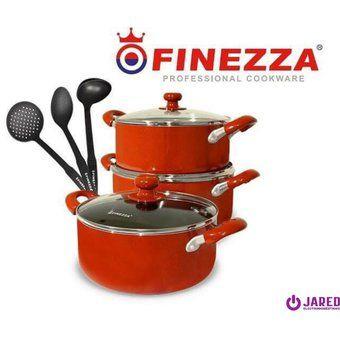 Juego de Ollas Antiadherente Finezza FZ-1651 de 9 piezas - Rojo Electrdoomesticos jared