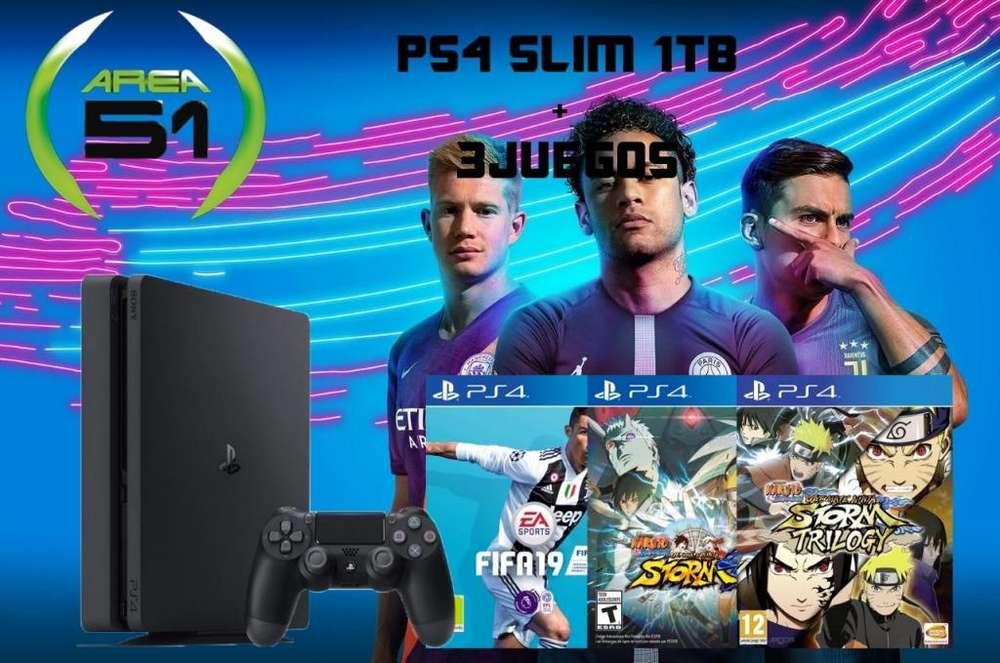 PS4 SLIM 1000GB MAS 3JUEGOS DIGITALES MAS GARANTIA