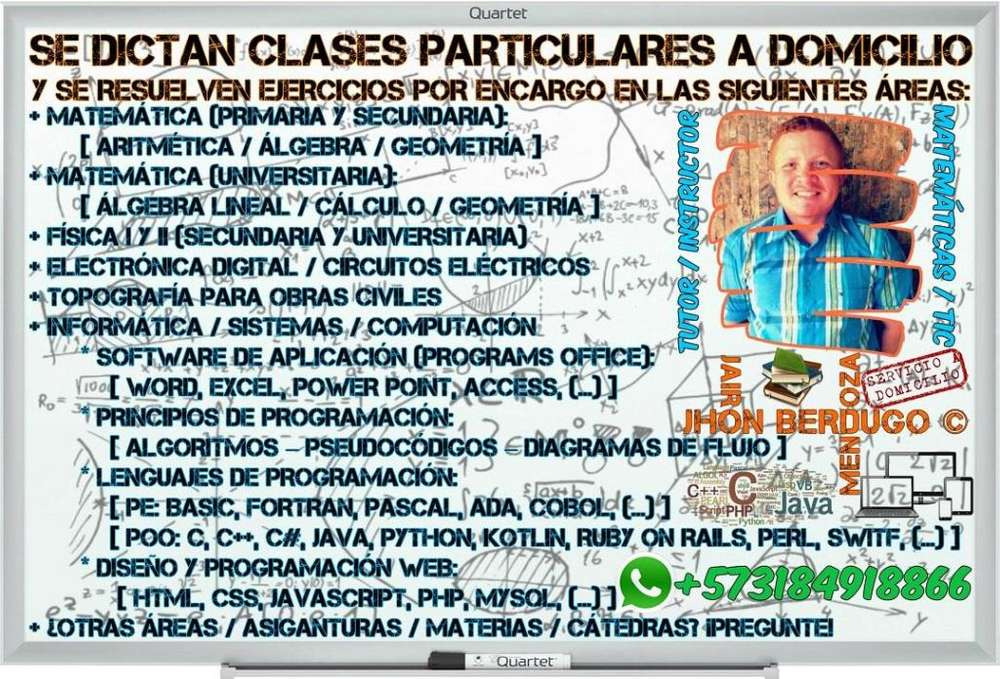 CLASES PARTICULARES A DOMICILIO Y VÍA SKYPE DE MATEMÁTICAS UNIVERSITARIA ALGEBRA LINEAL, CALCULO Y GEOMETRIA