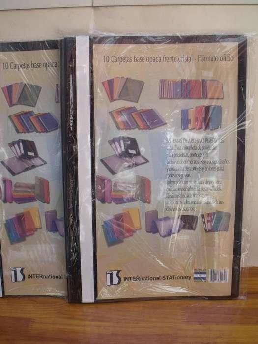 Carpetas oficio x 10 Flexibles Frente cristal Base opaca