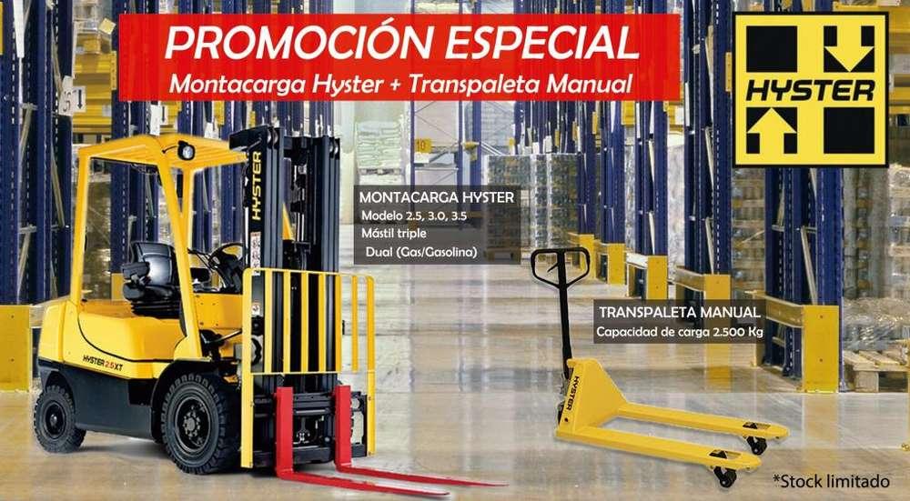 Montacarga Hyster H2.5-3.0 FT y Transpaleta Manual Hidráulica